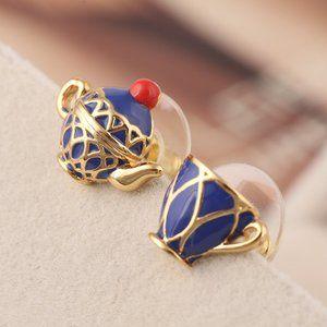 Kate Spade Blue Teacup Teapot Earrings